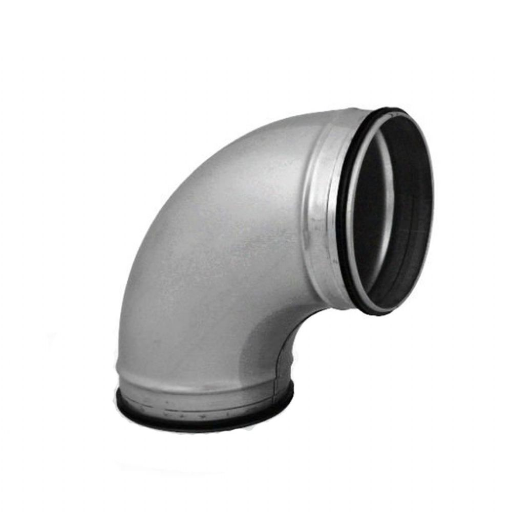 90 degree Elbow Pressed Bend Duct Fitting For Circular Spiral Ducting With Rubber Seal 125mm